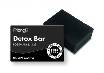 activated charcoal detox soap with cardboard box packaging