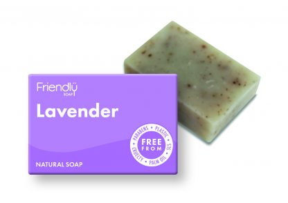 Natural handmade lavender soap bar with plastic free packaging