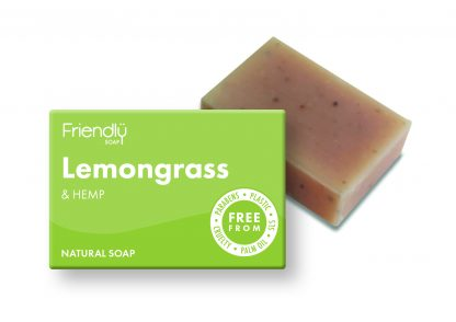 natural lemongrass and hemp bar of soap with cardboard box packaging