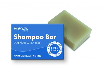 Lavender and tea tree solid shampoo bar with cardboard box packaging
