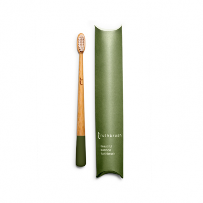 Bamboo toothbrush with medium bristles and paint dipped handle