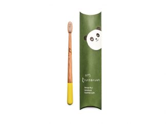 Kids bamboo toothbrush with sunshine yellow paint dipped handle | Tiny Thruthbrush available at sagefolk.co.uk