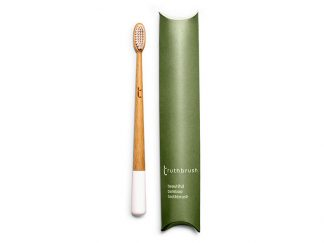 bamboo toothbrush with painted white handle and cardboard packaging | SageFolk