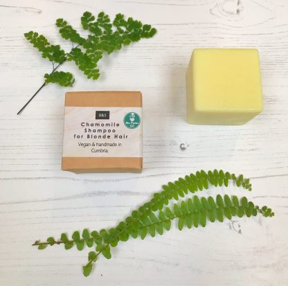 Bain & Savon chamomile shampoo bar with cardboard box packaging