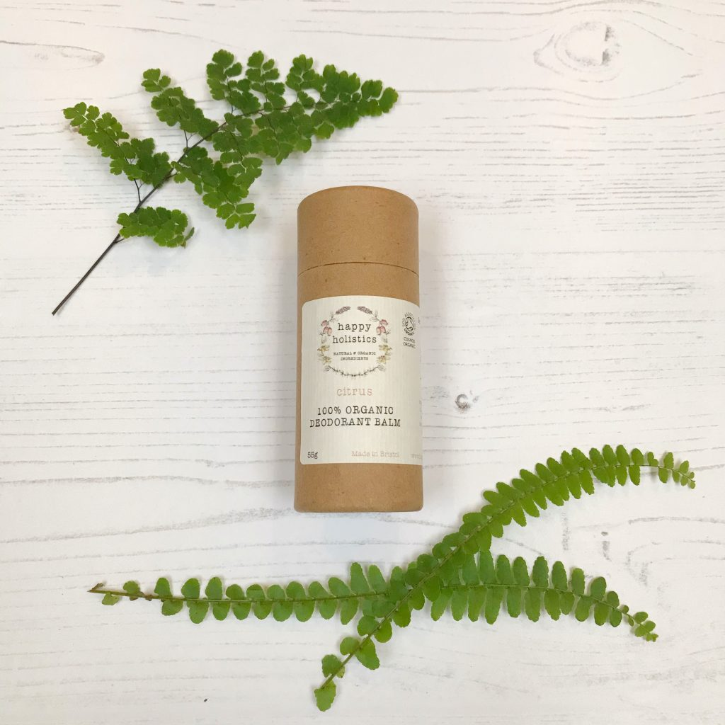 Vegan Natural Plastic Free Deodorant Stick in Cardboard Tube by Happy Holistics | Sage Folk