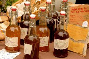 Bottles of apple cider vinegar | ACV rinse for natural shampoo bars