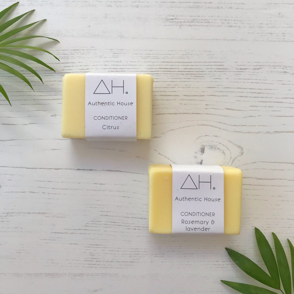 Solid conditioner bars with minimal cardboard packaging | Available at Sage Folk