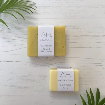 Citrus and ylang ylang solid shampoo bar with citrus conditioner bar by Authentic House | Available at Sage Folk