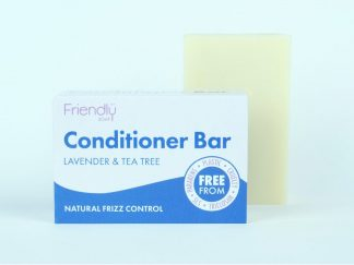 Lavender and tea tree solid conditioner bar with cardboard box packaging