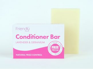 Lavender and geranium solid conditioner bar with cardboard box packaging