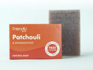 An earthy bar of patchouli and sandalwood natural soap with a cardboard box packaging
