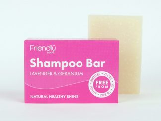 Lavender and geranium solid shampoo bar with cardboard box packaging