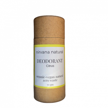 A natural, vegan and bicarb free deodorant stick in a plastic free tube. By Nirvana Natural | Available at Sage Folk