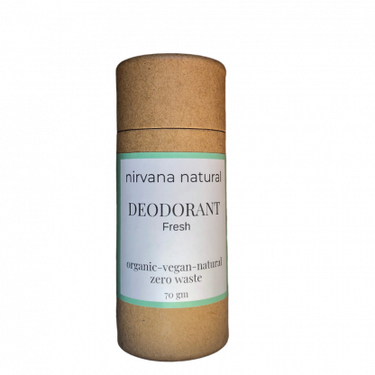 Natural, vegan plastic free deodorant stick in a plastic free paperboard tube. By Nirvana Naturals. Available at Sage Folk