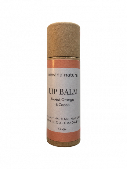 A sweet orange & cacao scented lip balm in a plastic free paperboard tube. Vegan and zero waste. By Nirvana Naturals, available at Sage Folk