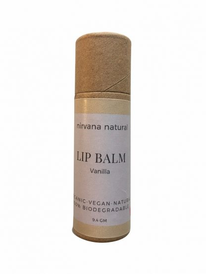 Vanilla Vegan Lip Balm in a plastic free paperboard tube. By Nirvana Naturals Available at Sage Folk