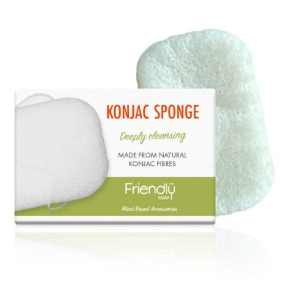 Biodegradable konjac sponge in cardboard box from Friendly Soap, Available at Sage FOlk